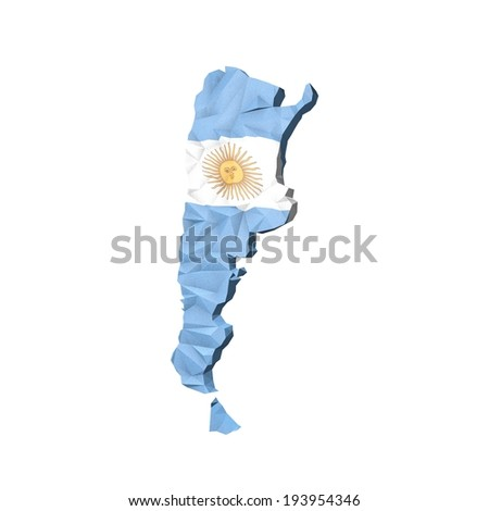 Low Poly Argentina Map with National Flag - Infographic Illustration - stock photo