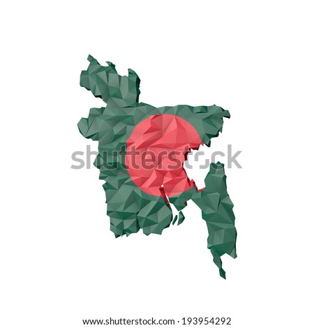 Low Poly Bangladesh Map with National Flag - Infographic Illustration