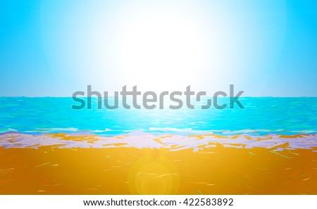 Low poly beach - stock photo