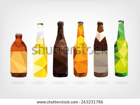 Low Poly Beer Bottles - stock photo
