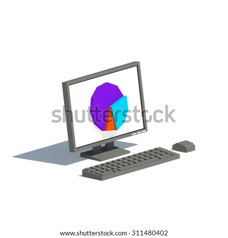 Low poly black or gray computer monitor with pie chart on isolated white background