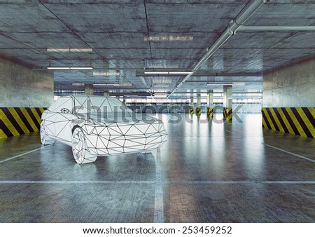 Low-poly car in the urban empty parking. 3d concept - stock photo