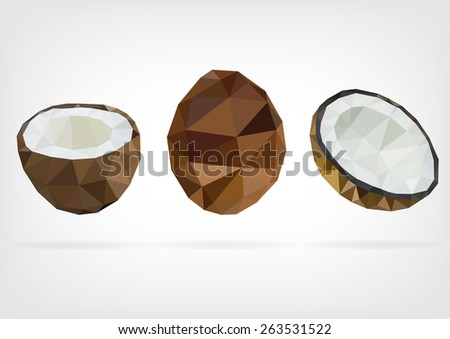 Low Poly Coconut - stock photo