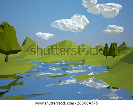 Low-poly 3d landscape with trees and water - stock photo
