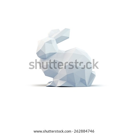 Low Poly Easter Bunny - stock photo