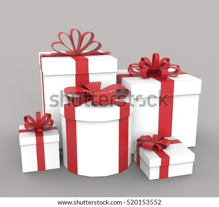 Low poly gift boxes. 3d render.