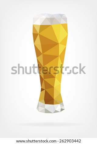 Low Poly Glass of Beer - stock photo