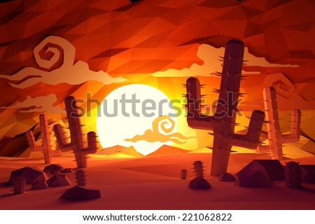 Low poly handmade feel  Wild West landscape with cactus plants and sunset. - stock photo