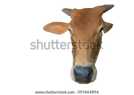 low poly image of young ox portrait with copy space and clipping path