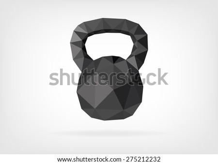 Low Poly Kettlebell - stock photo
