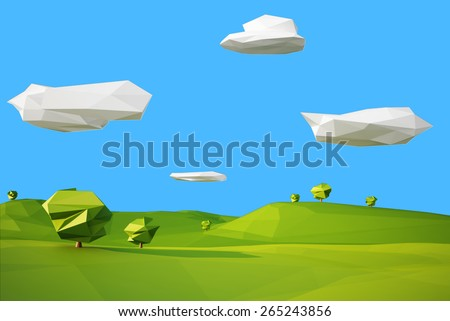 low poly landscaped with lawn and trees - stock photo