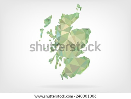 Low Poly map of Scotland - stock photo