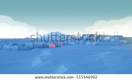 Low-Poly Mountain Landscape with Clouds and Wind Turbines