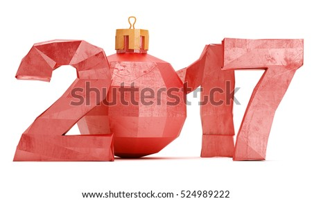 Low poly 2017 New year digits with christmas bauble isolated on white background. 3d rendering