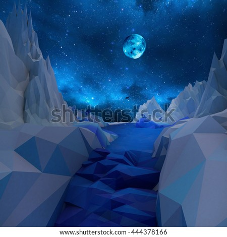 Low poly night landscape