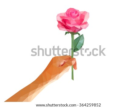 low poly polygon rose in her hand isolated line on white background