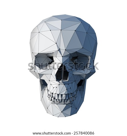 low-poly style  white skull  on white background - stock photo