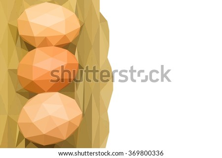 low poly three eggs in wicker basket isolated on white background with copy space, with clipping path - stock photo
