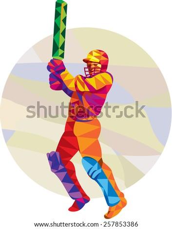 Low polygon style illustration of a cricket player batsman with bat batting set inside circle. - stock photo