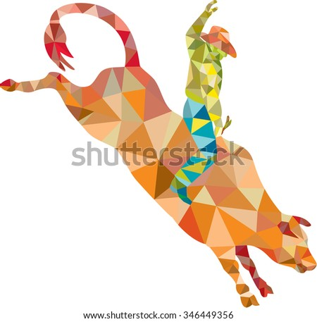 Low polygon style illustration of a rodeo cowboy riding bucking bull viewed from the side set on isolated white background. - stock photo