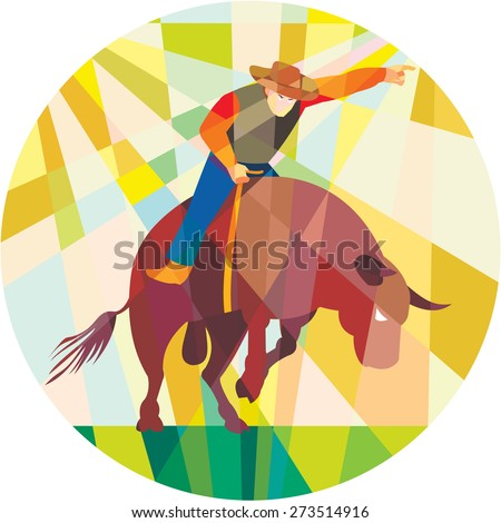 Low polygon style illustration of rodeo cowboy pointing riding bucking bull set inside a circle. - stock photo