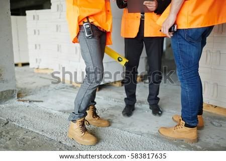 Low Section Shot Legs Two Construction Stock Photo