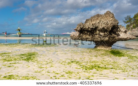 Low tide at Boracay island White Beach of Philippines - stock photo