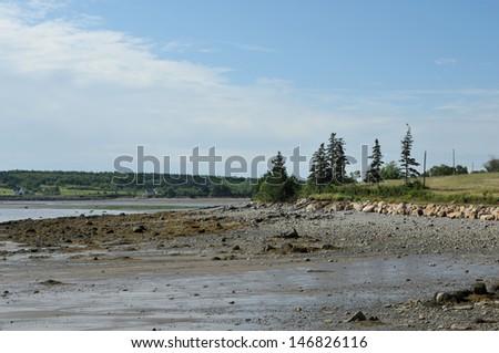 Low tide at Gilbert's Cove, Nova Scotia - stock photo