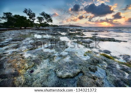 Low tide at the Florida Keys Islands. View to the Old Bahia Honda Railroad bridge. USA. - stock photo