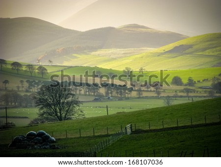 Low WInter Sun On Rural Hills In The Scottish Borders - stock photo