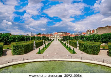Lower Belvedere Vienna, Austria on a sunny day with blue sky. No people, empty sight