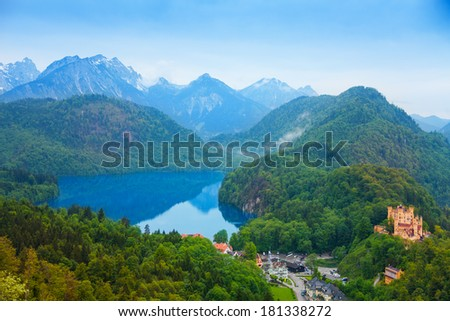 Lower castle and lake in Neuschwanstein,  in Bavaria, Germany - stock photo