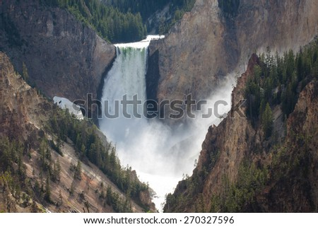 Lower Falls in the Grand Canyon of the Yellowstone, Wyoming, US - stock photo