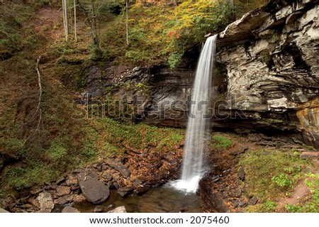 Lower falls of hill creek in West Virginia. Taken at near peak autumn colors. O - stock photo