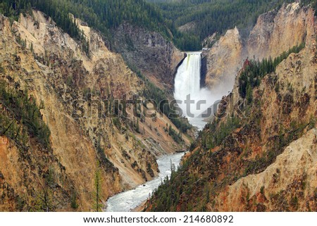 Lower falls of the Yellowstone River, Wyoming, USA. - stock photo