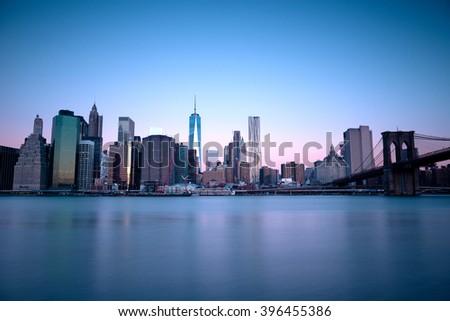 Lower Manhattan by night , New York - stock photo
