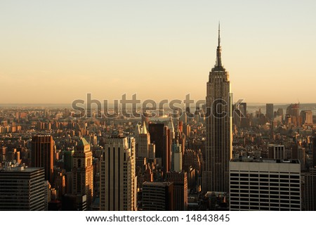Lower Manhattan cityscape at dusk - New York City, USA - stock photo