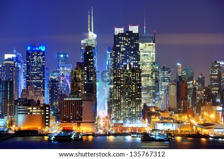 Lower Manhattan from across the Hudson River in New York City. - stock photo