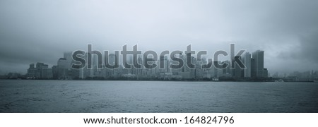 Lower Manhattan in clouds, New York City, USA