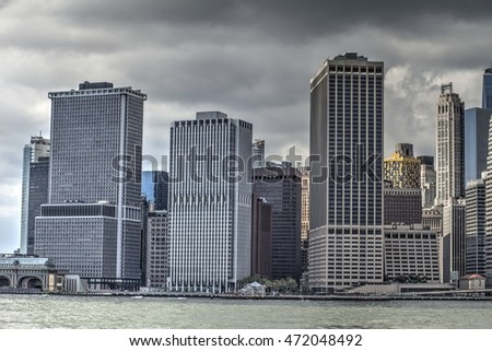 Lower Manhattan, New York, USA, Aug 20th, 2016: skyscrapers at Lower Manhattan with East River. Aug. 20, 2016 in New York, USA.