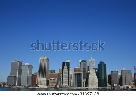 Lower Manhattan skyline along the East River.