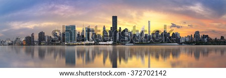 Lower Manhattan skyline. Giant panoramic view USA