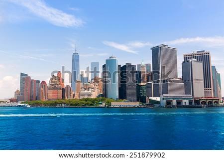 Lower Manhattan skyline New York City from bay NYC USA - stock photo