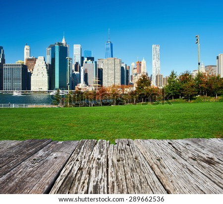 Lower Manhattan skyline view from Brooklyn Bridge Park in New York City - stock photo