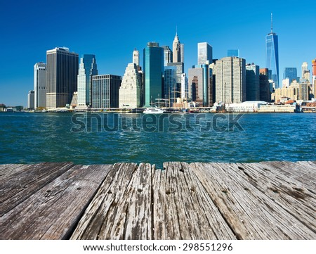Lower Manhattan skyline view from Brooklyn in New York City - stock photo