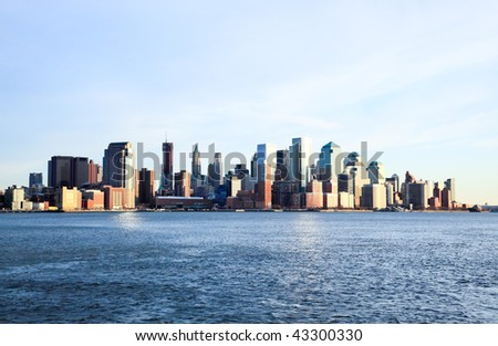 Lower Manhattan skylines at sunset in USA