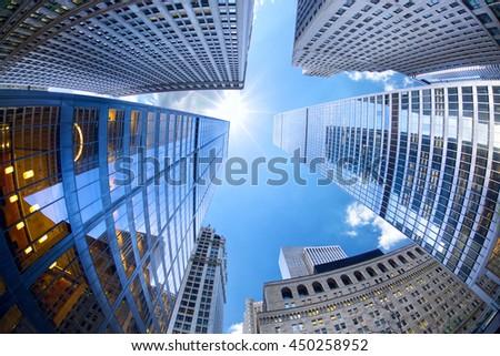 Lower Manhattan skyscrapers looking up, New York City - stock photo