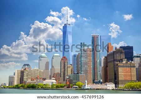 Lower Manhattan urban skyscrapers in New York City - stock photo
