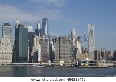 Lower Manhattan view from Hudson river, New York City, USA