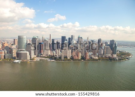 Lower Manhattan viewed from a helicopter - stock photo